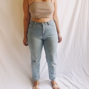 90s Worn and Faded Slim Cut High Rise Crop Jeans